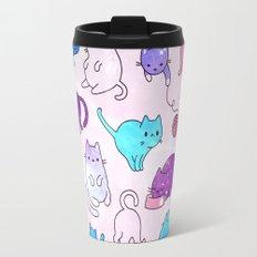 Space Cats Pink Blue Purple Star Kitty Pattern Travel Mug