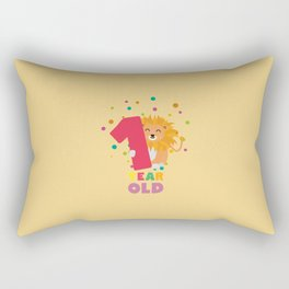 One Year first Birthday Party Lion T-Shirt Dcg0b Rectangular Pillow