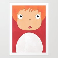 studio ghibli Art Prints featuring Studio Ghibli - Ponyo by Teacuppiranha
