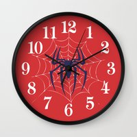 spider Wall Clocks featuring Spider by Vickn
