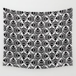 Minimal - white polka circles and dots on black - Mix&Match with Simplicty of life Wall Tapestry