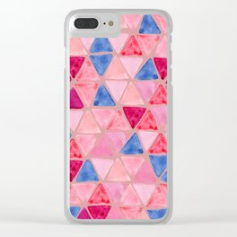 Pressed Rose Colorway - Tesselate Pattern - Triangle Handpainted Pattern Clear iPhone Case