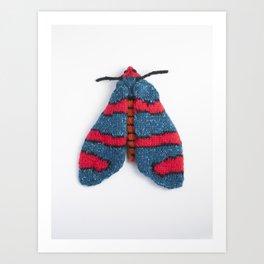 Knitted Fire Grid Burnet Moth Art Print