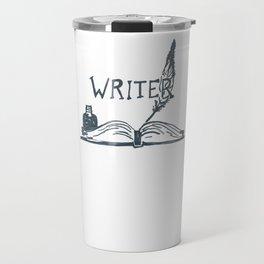 Writer book pen and inkwell Travel Mug