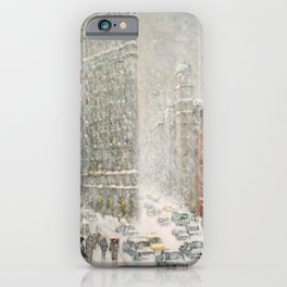 Flatiron Building New York City, Winter landscape painting by Guy Carleton Wiggins iPhone Case