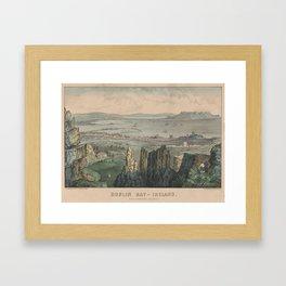 Vintage Pictorial Map of Dublin Bay Ireland (1907) Framed Art Print