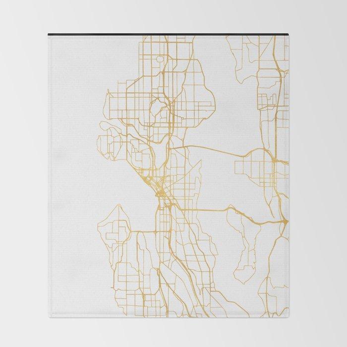Seattle Washington City Street Map Art Throw Blanket By Deificusart