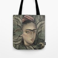 frida kahlo Tote Bags featuring Frida Kahlo by Antonio Lorente