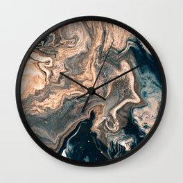 M A R B L E - copper & blue Wall Clock