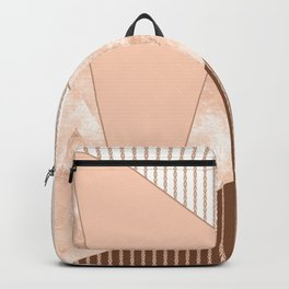 Valencia 2. Abstract Beige, white, brown geometric pattern. Backpack