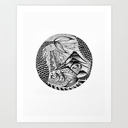 Ink drawing Zodiac Pisces Art Print