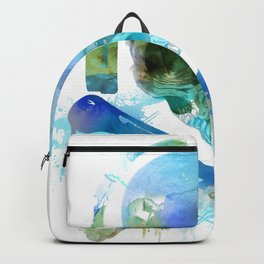 Watercolour Skull & Crossbones with Headphones. Backpack