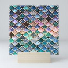Multicolor Pink And Aqua Mermaid Scales - Beautiful Abstract Glitter Pattern Mini Art Print