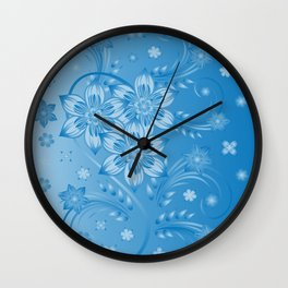 Abstract blue flowers with background Wall Clock
