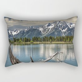 Tree Stump on the Northern Shore of Jackson Lake at Grand Teton National Park Rectangular Pillow