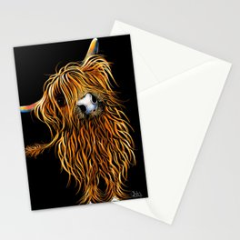 HIGHLAND COW PRINTS of Original SCOTTISH Painting  'CoooWeee on BLaCK ' SHIRLEY MACARTHUR Stationery Cards