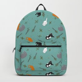Cat Party Catnip Illustrated Print Pattern Backpack