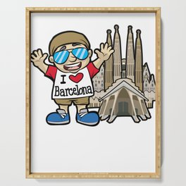 I LOVE BARCELONA Spain La Sagrada Familia Serving Tray