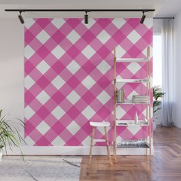 Pink & White Checkered Pattern-Mix and Match with Simplicity of Life Wall Mural