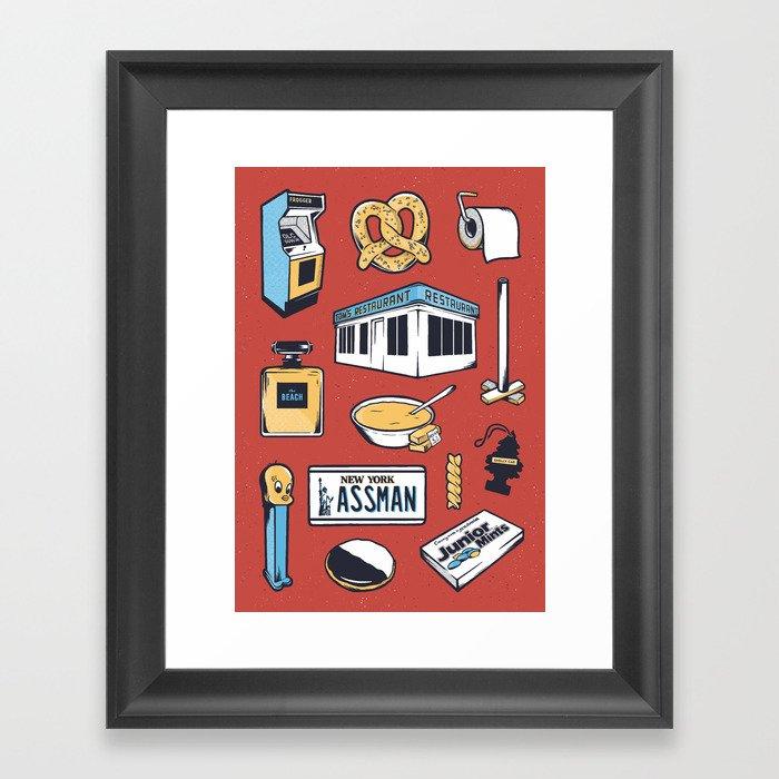 SEINFELD // Tattoo Flash Poster // George Costanza Cosmo Kramer Framed Art Print