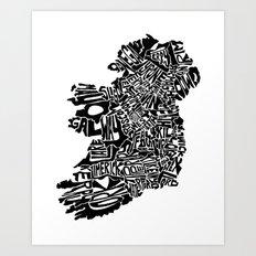 Typographic Ireland Art Print