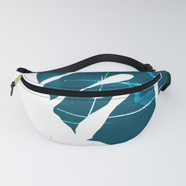 Monstera Leaf Blue Fanny Pack