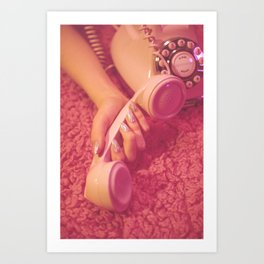 Hand with phone on pink carpet Art Print
