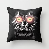 majora Throw Pillows featuring Majora Mask by Janismarika