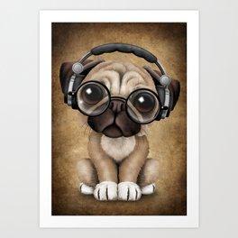 Cute Pug Puppy Dj Wearing Headphones and Glasses Art Print