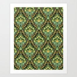 Golden Paisley Damask Art Print