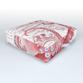 Red Octopus ancient Map White Outdoor Floor Cushion