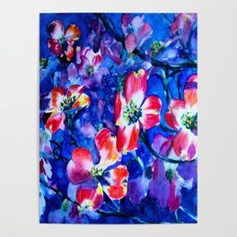 Watercolor Blue & Red Flowers Poster
