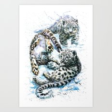 Little snow leopards Art Print