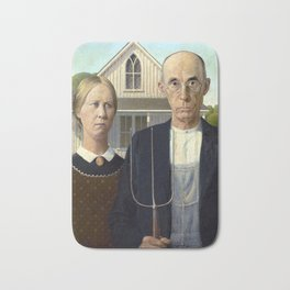 Iconic American Gothic by Grant Wood Bath Mat
