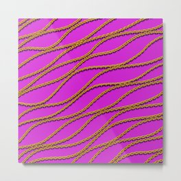 Wave Gold Chain Magenta Metal Print