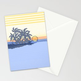 Big Sunset Hawaiian Surfer Striped Scenic Stationery Cards