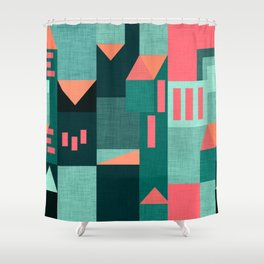 Teal Klee houses Shower Curtain