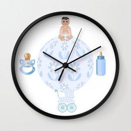 Baby Blue, Baby Boy, Blue Bottle, Bottle, Blue Pacifier, Pacifier, Blue Pram, Pram Wall Clock