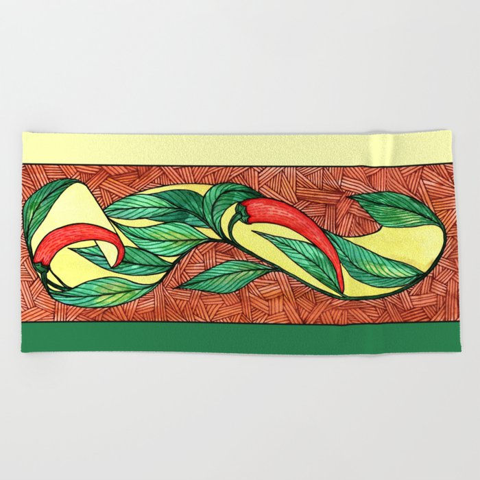 Hot peppers Beach Towel