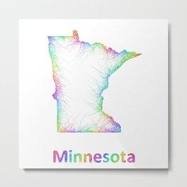 Rainbow Minnesota map Metal Print