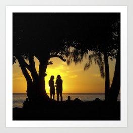 Sunset Friends Art Print