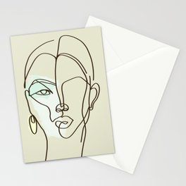 Strong Girl With Earring Stationery Cards
