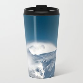 Misty clouds over snowy mountain Snežnik, Slovenia Travel Mug