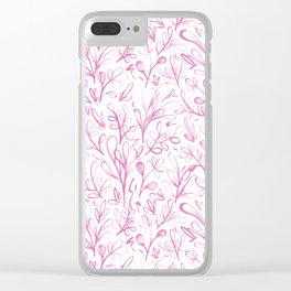 Sketchy Flowers Pink On White Pattern Clear iPhone Case