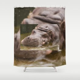 Huge bored Hippopotamus Shower Curtain