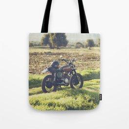 Moto guzzi, café racer, photo in south italy, man cave. Scrambler, fine art, motorcycle, motorbike Tote Bag