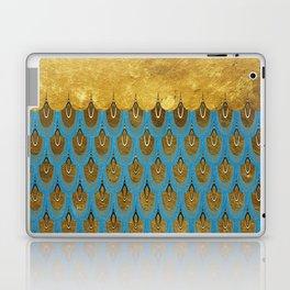 Blue and Gold Mermaid Scales Dreams Laptop & iPad Skin