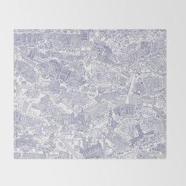 Illustrated map of Berlin-Mitte. Ink pen design Throw Blanket