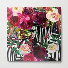 Floral On Zebra Pattern Metal Print