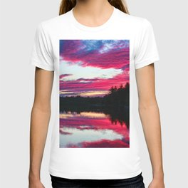 Purple skies and sunset over the Scituate Reservoir, Scituate, Rhode Island T-shirt
